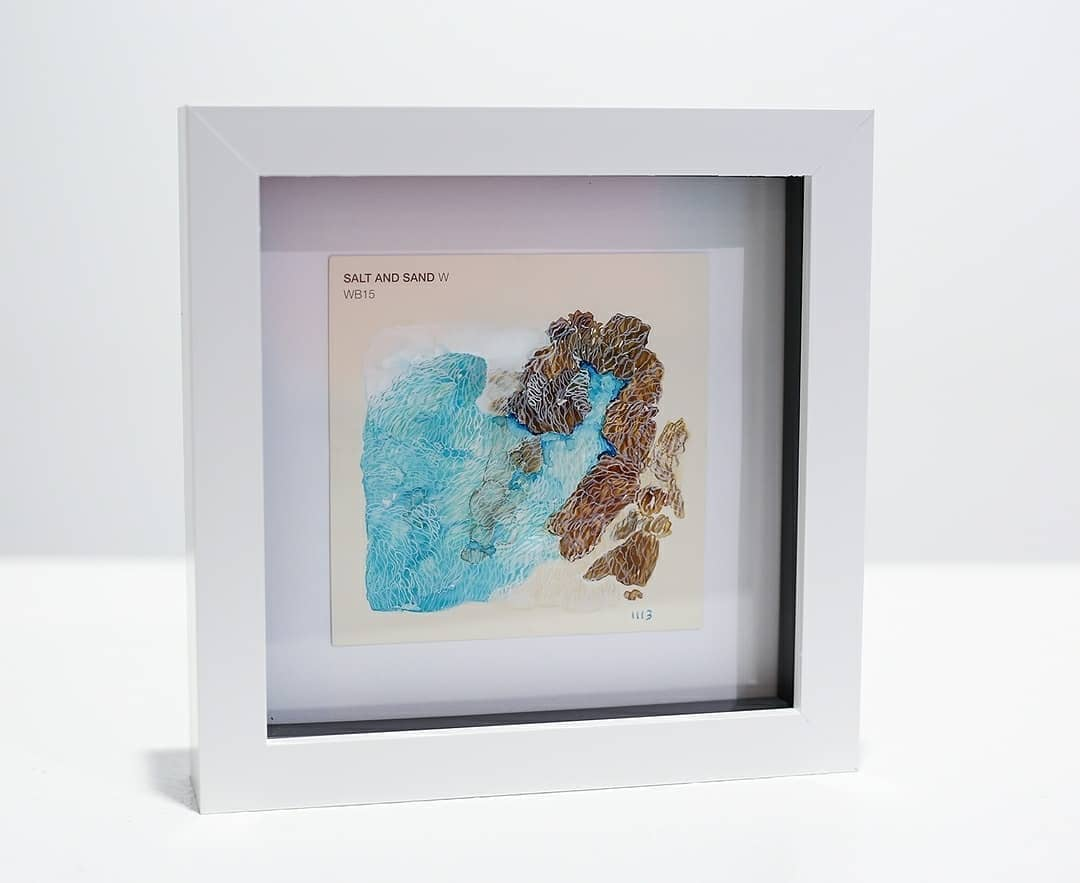 SIMONE READ - Salt and Sand Bronte Beach 10 x 10cm, 17.5 x 17.5cm framed, brush applied ink on paint swatch $ 95.00   Price includes white shadow box display frame. Archival and other framing options can also easily be arranged!   
