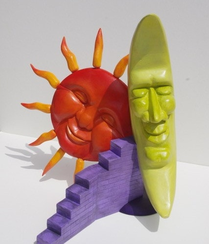 TERRY-BARCLAY-Dream-On-29 x 35 x 30cm carved-and-painted-timber - $900.00